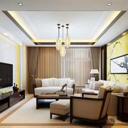 一居室中式与现代简约混搭客厅装修图
