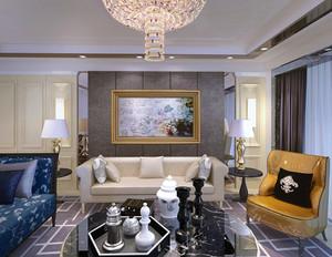 一居室简欧客厅装饰画效果图
