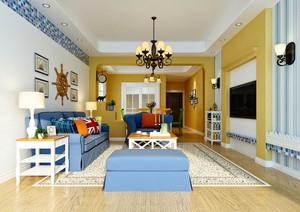 地中海风格时尚精美客厅电视背景墙装修