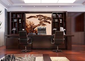 中式老总办公室效果图