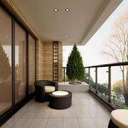一居室新中式客厅阳台装修图