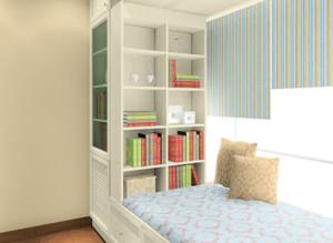 书房床带书柜书架效果图赏析