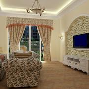 小户型田园风格客厅吊灯装修设计图