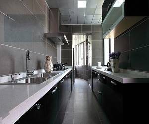 后现代风格厨房,采用了冰冷的黑灰色调,整体给人一种时尚、高端、大气的感觉,非常适合成功人士的一种厨房装修风格。
