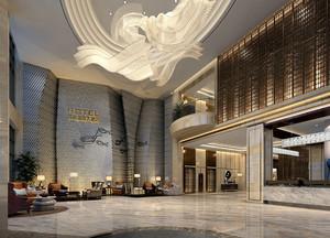 新中式混搭酒店大堂装修效果图
