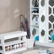 现代鞋柜换鞋凳一体效果图