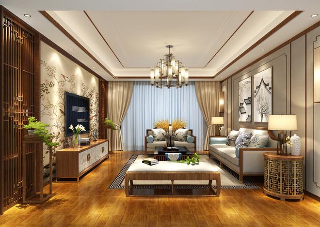 古典精致中式风格客厅摆放植物图