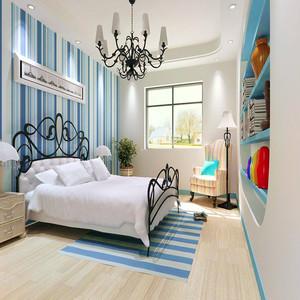 小平米次卧装修效果图,白色的卧室背景墙,简单的吊顶装修,整个空间以条形为主色调,一幅巨大的背景图成为床头背景墙,天蓝的颜色平衡了视觉。上方垂吊的小射灯以及边框的吊灯都在一定程度上区分了休息与工作空间,小次卧装修设计给人眼前一亮的感觉。