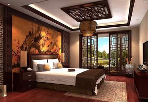中式主卧床头墙装饰案例