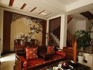中式家装效果图客厅背景墙