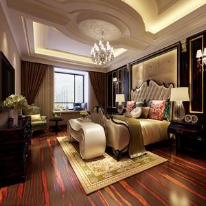 欧式装修主卧室效果图,门窗上半部多做成圆弧形,并用带有花纹的石膏线勾边。室内有真正的壁炉或假的壁炉造型。墙面用高档壁纸,或优质乳胶漆,以烘托豪华效果。