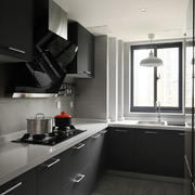 厨房灰色墙砖搭配效果图