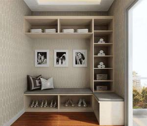 简易挂衣柜和鞋柜一体效果图,下面一层师鞋柜的设计,右边和上面的格子则是放置衣服的地方,还特意设计了换鞋凳,感觉非常实用。