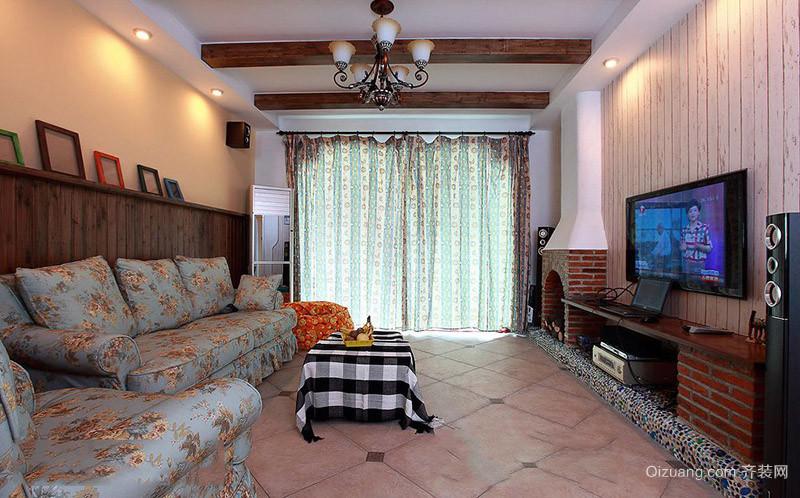 美式田园客厅仿古地板砖效果图
