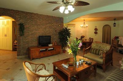 美式客厅仿古砖效果图