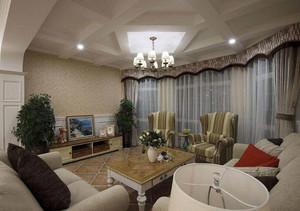 美式田园风格客厅窗帘