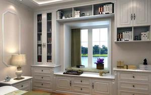 卧室窗户两边书柜造型