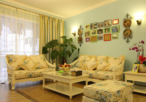 欧式田园风格客厅窗帘