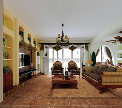 美式风格客厅仿古砖效果图