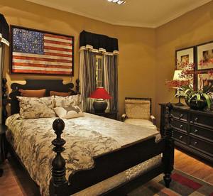 简约美式床头背景墙装修效果图