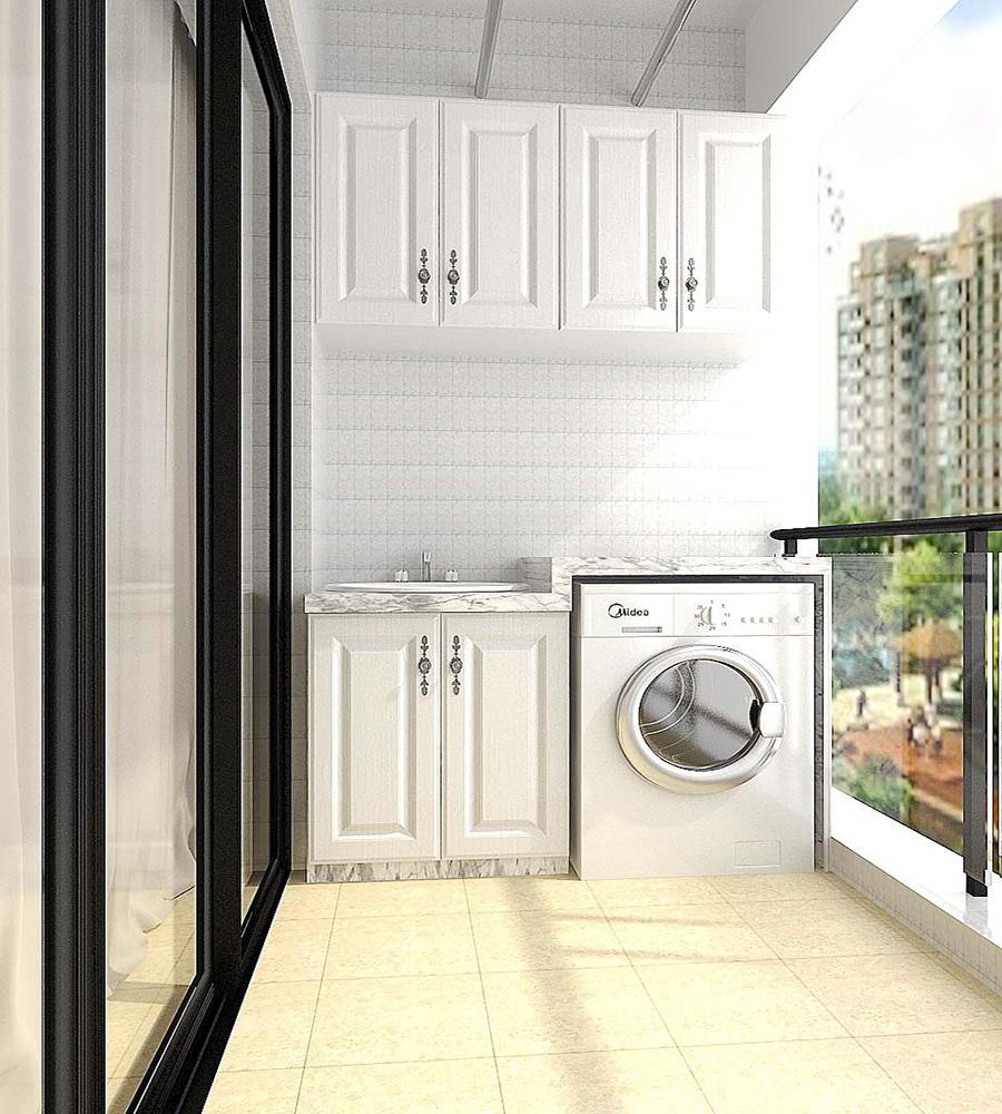 阳台带洗衣机装修效果图