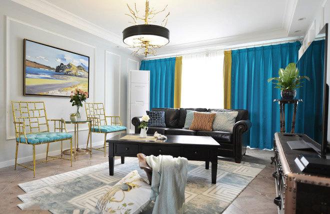 美式复古窗帘装修效果图