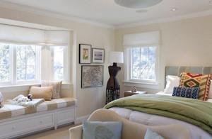 现代简约风卧室飘窗柜子效果图