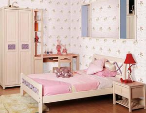 儿童房粉色墙布效果图