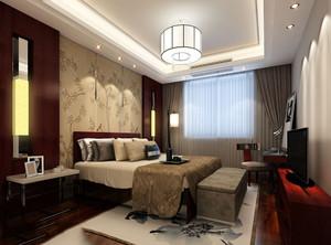 新中式卧室床头墙装修效果图