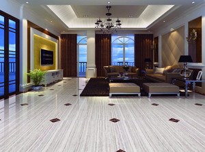 客厅铺瓷砖效果图,简约的设计风格,白色带条纹瓷砖中零星点缀着小菱形,给人以绝妙的视觉享受,与周围家具的简约风格相呼应,具有浓浓的科技感。