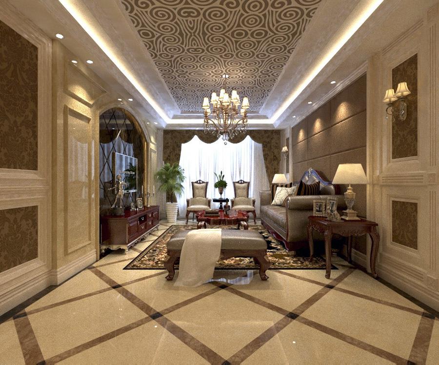 客厅地面瓷砖拼花效果图