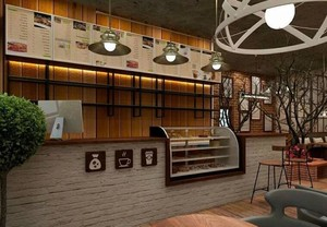 简约复古风格咖啡厅装修效果图