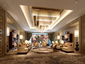 120平中式风格会客厅装修效果图