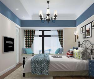 地中海风格装修卧室窗帘效果图