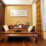 新中式书房背景墙装修效果图