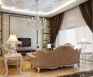90平方欧式客厅窗帘装饰效果图鉴赏