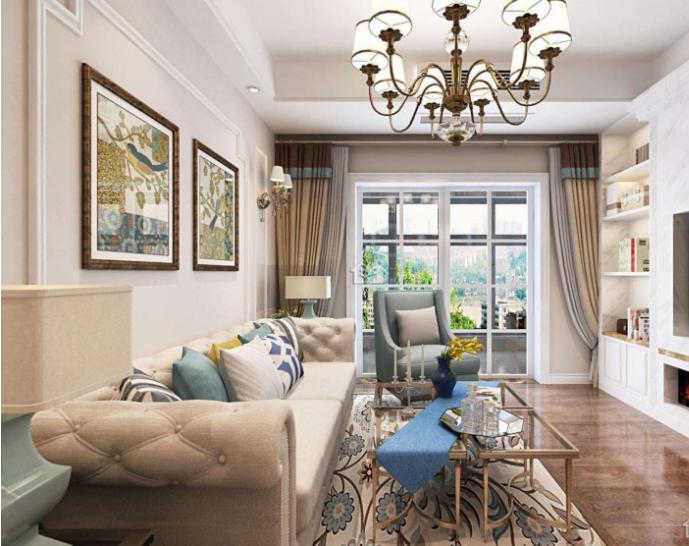 美式小户型客厅窗帘装修效果图展示