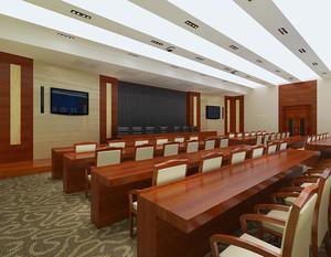 90平中式风格会议室装修效果图