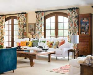 美式田园风格窗帘装修效果图案例