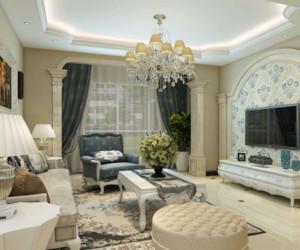 100平米简欧风格窗帘设计效果图
