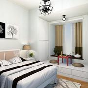 现代简约三居卧室飘窗装修效果图