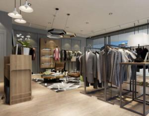 60平米现代简约风格服装店效果图