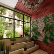 120平米欧式风格入户花园装修效果图