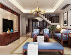 90平米中式风格客厅装修效果图大全