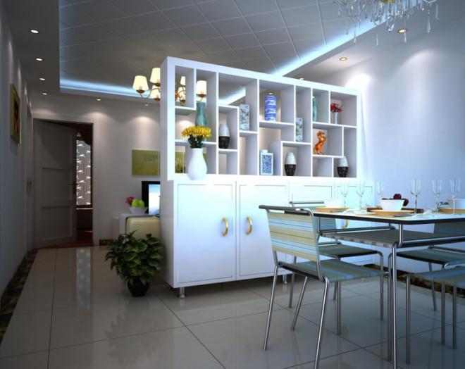 120平米现代简约客厅餐厅隔断装修效果图