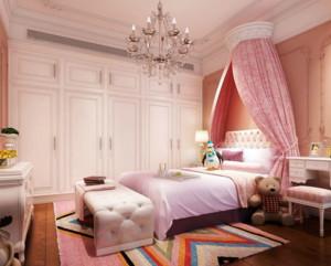 它给人的感觉是非常的罗曼蒂克的,设计师采用了小公主们最喜欢的紫色、粉色为主色调,此外它在床头采用粉色纱质的帷帐,让整个居室显得浪漫而温馨。