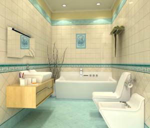 这个卫浴采用了浅黄色和浅蓝色两种瓷砖搭配,非常的小清新。室内的卫浴洁具非常的简单,但都很齐全,也为活动空间节省了不少空间。