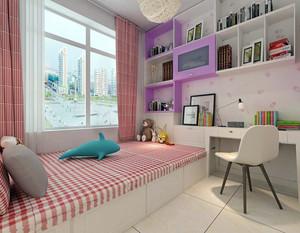 这款榻榻米装修采用的颜色十分的粉嫩,十分适合女生用,粉色的窗帘和粉色的格子床单十分的和谐单调。白色的储物柜可以用来储物,节省空间。