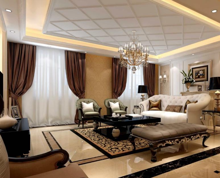 欧式风格客厅吊顶装修设计效果图赏析