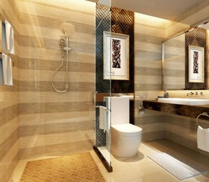 这个卫生间的墙砖非常的特别,它采用的是横贴的方式,使原本不大的卫生间有了扩大视觉的效果,而且淋浴房也采用的是全透明玻璃。